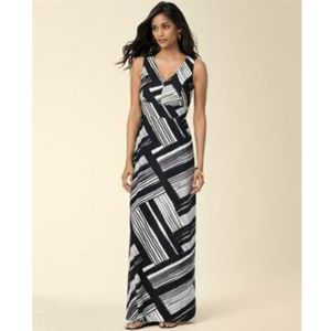 Soma Empire V Neck Maxi Standout Stripe Blk Dress